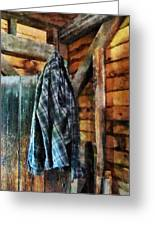 Blue Plaid Jacket In Cabin Greeting Card by Susan Savad