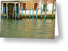 Blue Poles In Venice Greeting Card