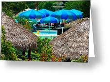 Blue Pool Umbrellas Greeting Card