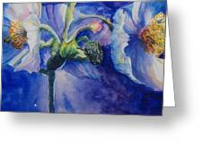 Blue Poppies Greeting Card by Debra  Bannister