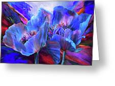 Blue Poppies On Red Greeting Card