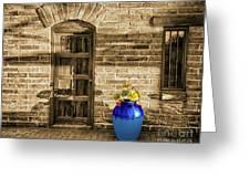 Blue Pot, Tubac, Arizona Greeting Card