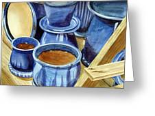 Blue Pots Greeting Card