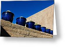 Blue Pottery On Wall Greeting Card