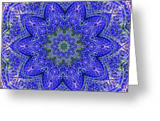 Blue Purple Lavender Floral Kaleidoscope Wall Art Print Greeting Card
