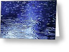 Blue Raindrops Greeting Card by Maria Scarfone