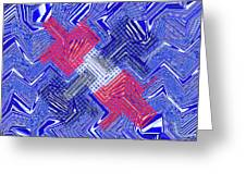 Blue Red And White Janca Abstract Panel Greeting Card