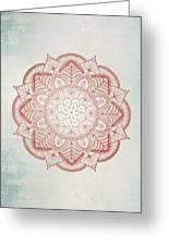 Blue Red Mandala Greeting Card