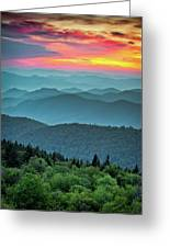 Blue Ridge Parkway Sunset - The Great Blue Yonder Greeting Card
