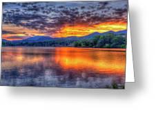 Blue Ridges Lake Junaluska Sunset Great Smoky Mountains Art Greeting Card