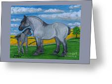 Blue Roan Mare With Her Colt Greeting Card