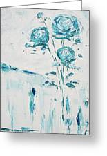 Blue Roses On A Table Greeting Card