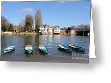Blue Rowing Boats On The Thames At Hampton Court London Greeting Card