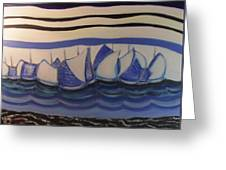Blue Sailing Boats In The Harbour Greeting Card