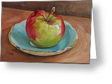 Blue Saucer With Apple Greeting Card