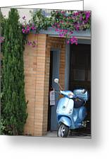 Blue Scooter Greeting Card