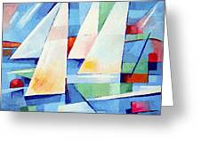 Blue Sea Sails Greeting Card