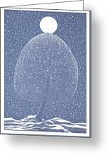 Blue Shadow Tree Greeting Card