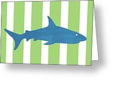Blue Shark 2- Art By Linda Woods Greeting Card