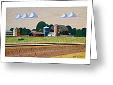 Blue Silo-marquetry-image Greeting Card