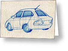 Blue Sketch Of A Car From Left Rear View With A Rear Aerial  Greeting Card