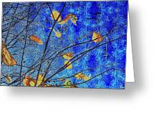 Blue Skies And Last Leaves Of Fall Greeting Card