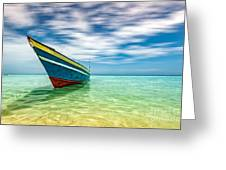 Blue Sky, Green Water And Iconic Boat Greeting Card