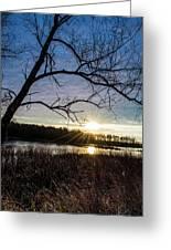 Blue Sky Sunrise On The Marsh Greeting Card