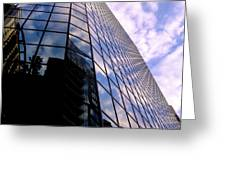 Blue Skyscrapper With A Blue Sky In New Orleans Louisiana Greeting Card