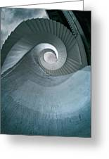 Blue Spiral Stairs Greeting Card