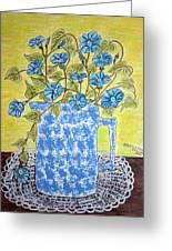 Blue Spongeware Pitcher Morning Glories Greeting Card