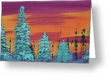 Blue Spruce Sunset Greeting Card
