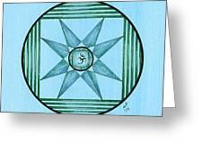 Blue Star Om Greeting Card
