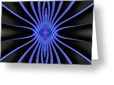 Blue Starburst On Black Greeting Card