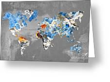 Blue Street Art World Map Greeting Card