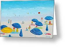 Blue Striped Umbrellas Greeting Card