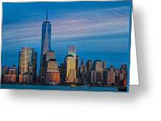 Blue Sunset At The World Trade Center Greeting Card