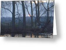 Blue Sunset On Fox River Greeting Card