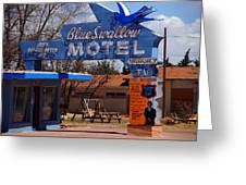 Blue Swallow Motel On Route 66 Greeting Card
