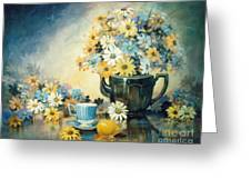 Blue Teacup And Lemon Greeting Card