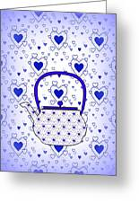 Blue Teapot - Kitchen Greeting Card