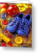Blue Tennis Shoes Greeting Card by Garry Gay