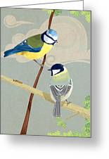 Blue Tit And Great Tit Greeting Card