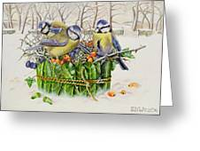 Blue Tits In Leaf Nest Greeting Card
