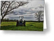 Blue Tractor Green Field Greeting Card