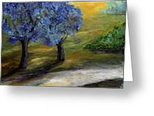 Blue Trees Greeting Card by Laura Swink