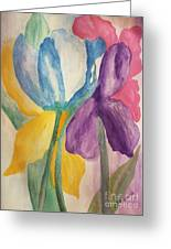Blue Tulip And Iris Abstract Greeting Card