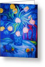Blue Tulips      Art Deco Greeting Card by Gunter  Hortz