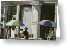 Blue Umbrellas Greeting Card