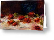 Blue Vase And Red Roses Greeting Card